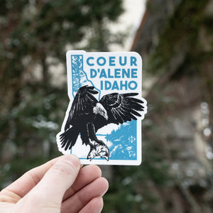 Lakeside Eagle Catching Fish Sticker