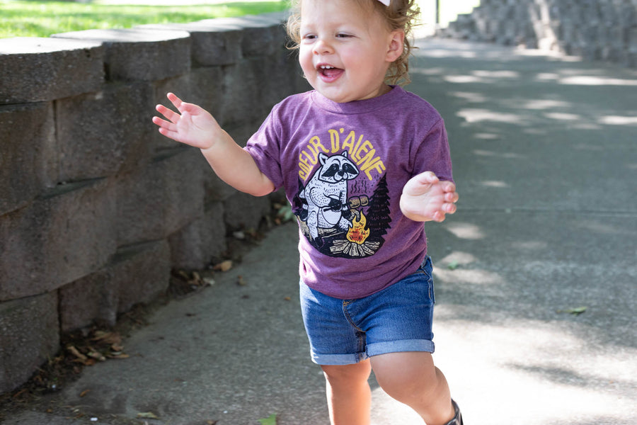Maroon Raccoon Toddler Tee