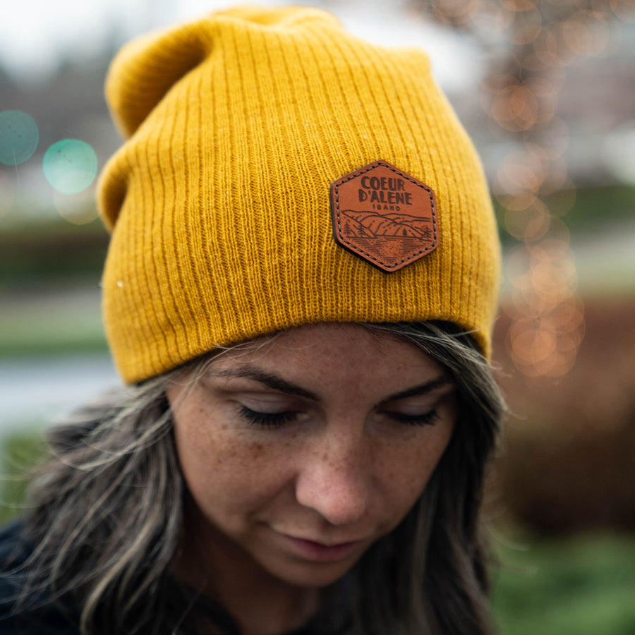 Mustard Leather Patch Slouchy Beanie