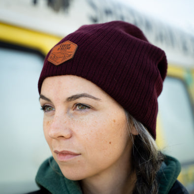 Maroon Leather Patch Slouchy Beanie