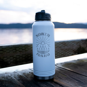 North Idaho Matte White Insulated 32oz Flask