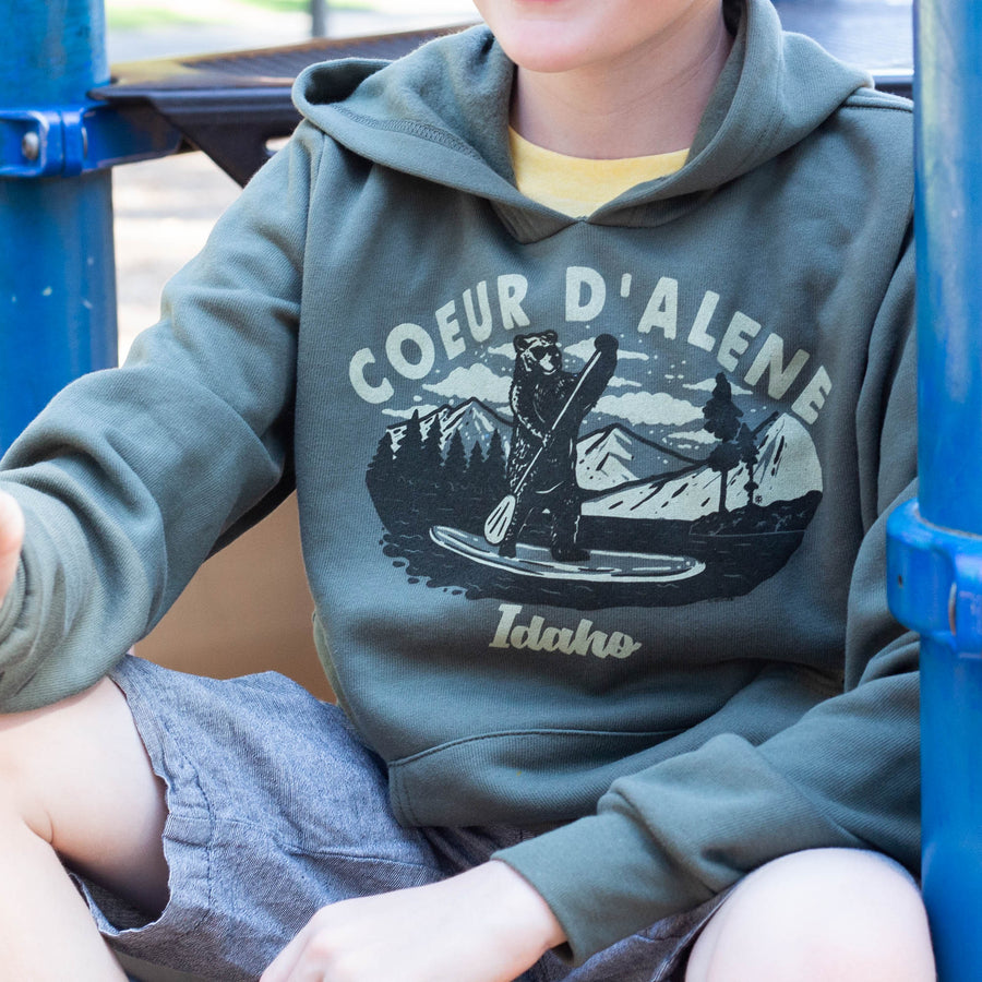 Paddleboard Bear Military Green Youth Pullover Hoodie