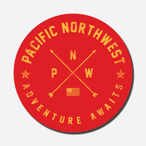 PNW Adventure Awaits Red Circle Sticker