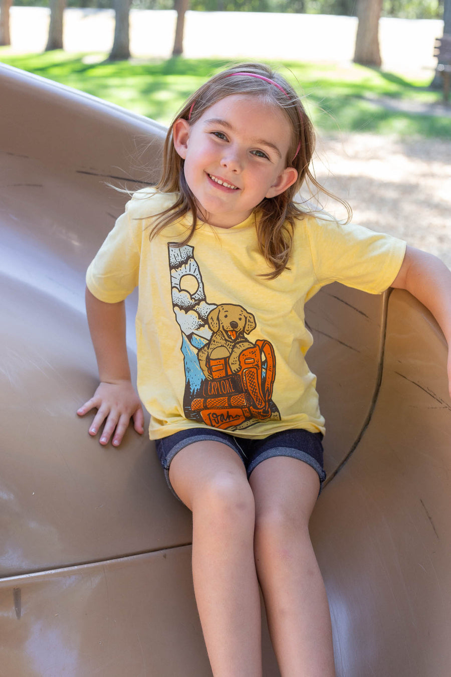 Kids Idaho Puppy Banana Yellow Tee