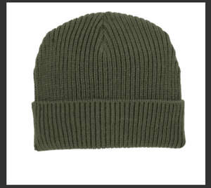 Bold Logo Army Green Knit Cap