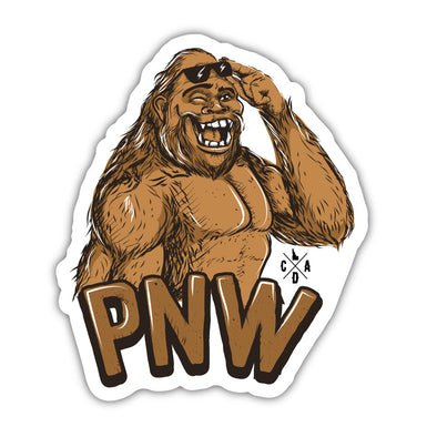 The Happy PNW Bigfoot Sticker
