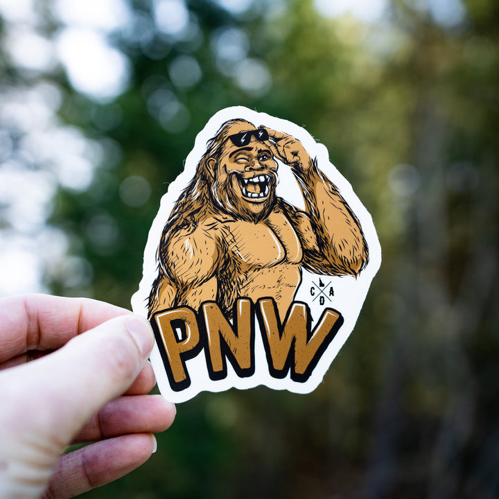The Happy PNW Bigfoot Sasquatch Sticker