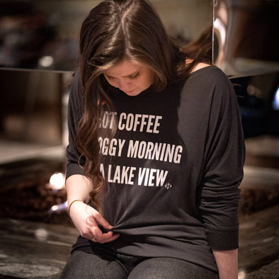 Women's Hot Coffee Long Sleeve Wideneck Tee