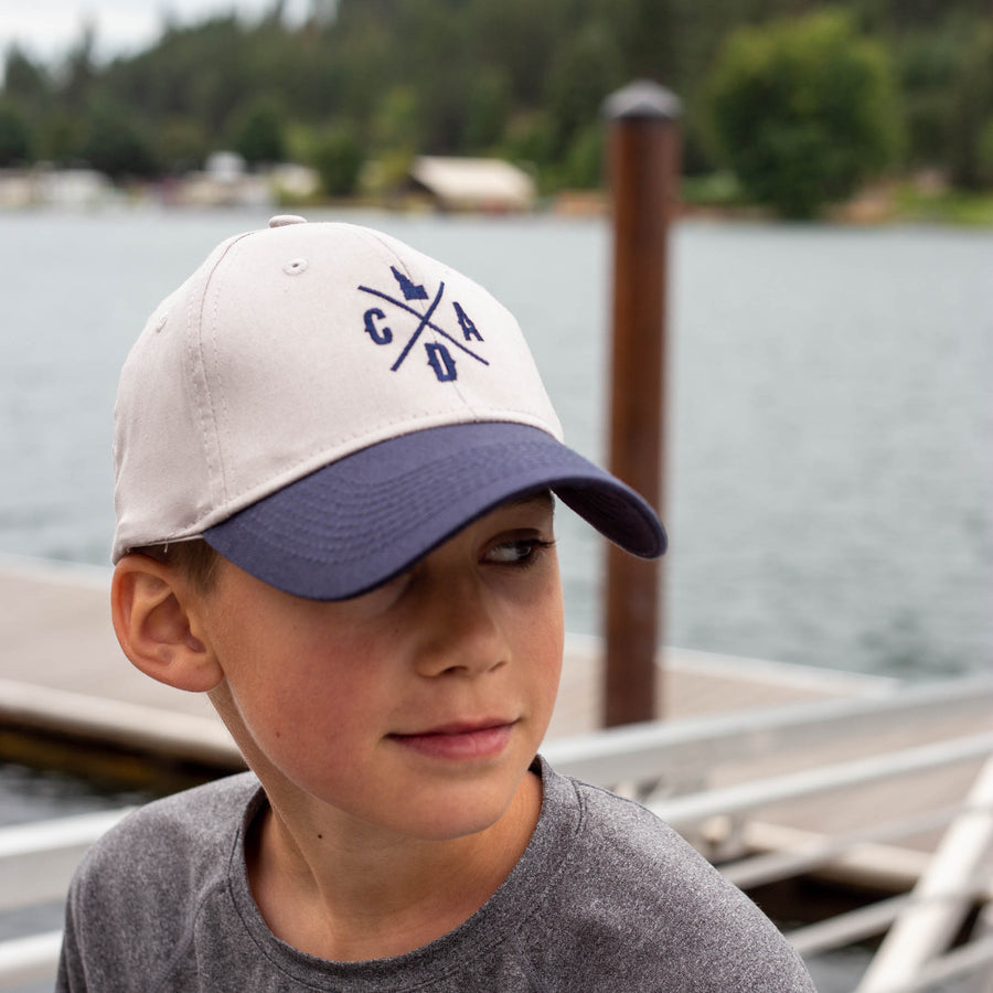 Youth Silver/Navy CDA Idaho Logo Twill Hat