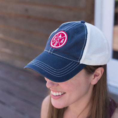 Vintage Worn Trucker Logo Navy & Red