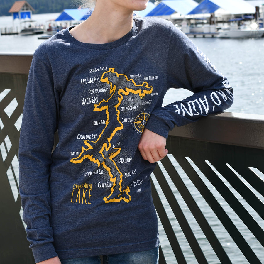 Coeur d'Alene Lake Heather Navy Long Sleeve Tee