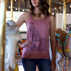 Idaho Wood Grain Mauve Racerback Women's Tank