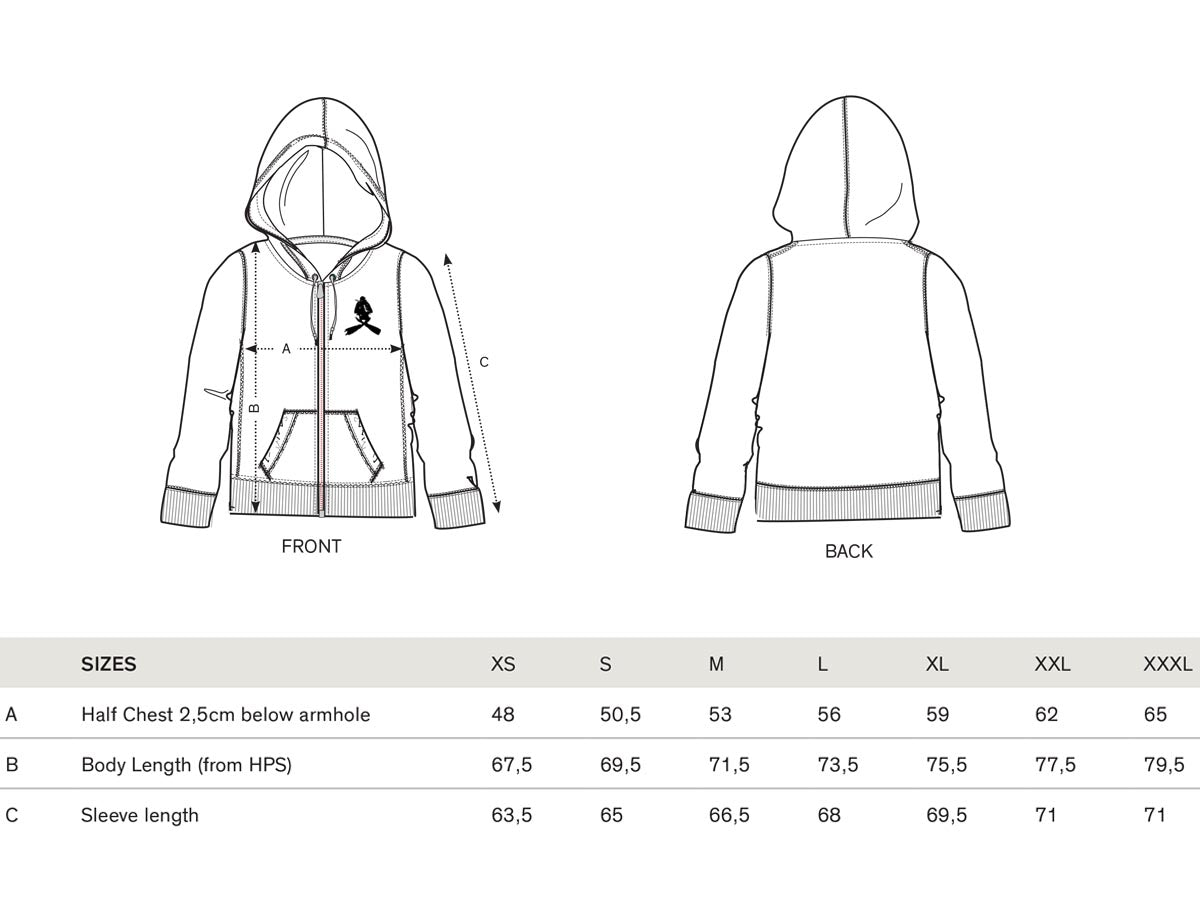 Scubalooks Hoodie Size Guide
