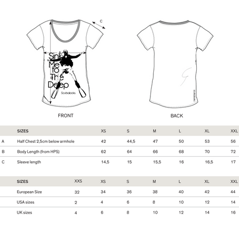 Sink me to the deep t-shirt Size Guide