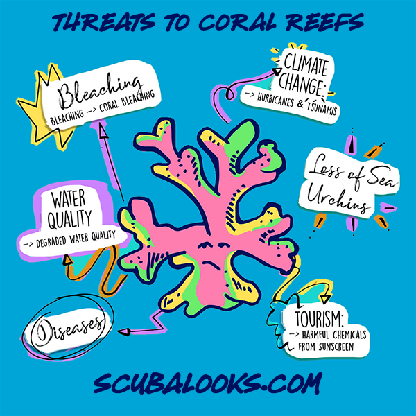 Threats to coral reefs worldwide