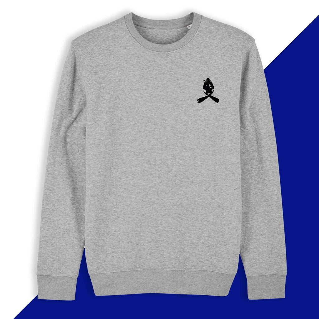 A comfortable sweater embroidered with scuba diver logo