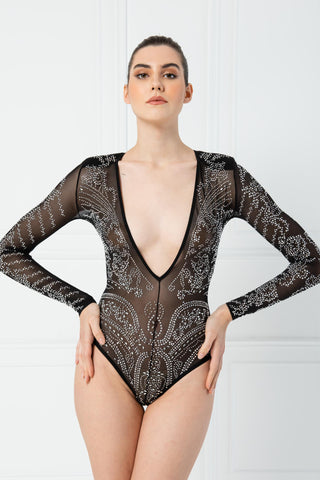 V neck Mesh Long Sleeve Body Suits