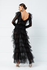 Ruffle-Trim Black Mesh Maxi Dress