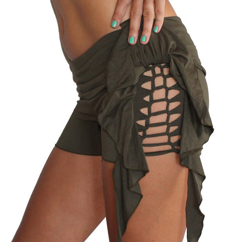 Side Frill and Macrame Shorts