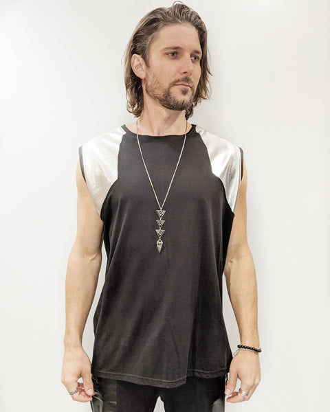 Men's Metallic Silver Tank