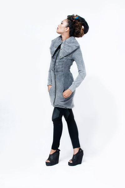 Puff Collar Long Jacket