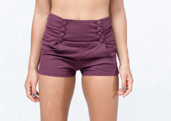 Button Front  High Waisted Shorts