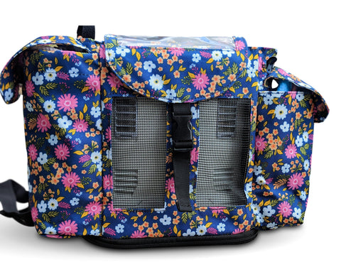 Inogen One G3 Backpack in Flower Print (also fits Oxygo unit) - O2TOTES