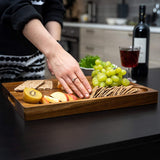 Acacia Wood Large Reversible Cutting Board with Juice Groove & Cracker Holder Chopping Board Charcuterie Board Cheese Board