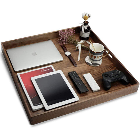 Black Walnut Wood Ottoman Tray with Handles, Serve Tea, Coffee or Breakfast in Bed, Classic Wooden Decorative Serving Trays 24 x 24 Inches Extra Large Square