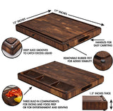 Large Cutting Board Thick Walnut Wood End Grain 17x13x1.5in with Sorting Compartments, Non-Slip Feet, Deep Juice Grooves