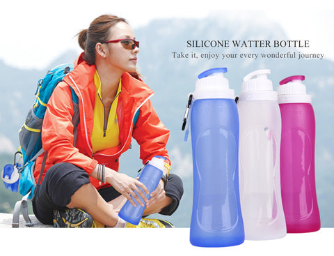 Sports Water Bottles Collapsible - Leak Proof Twist Cap - BPA Free