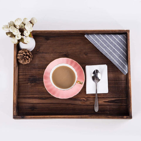 Serving Tray Crafted from Fir Wood with Handles
