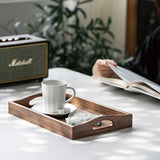 Solid Black Walnut Wood Ottoman Tray with Handles, Classic Wooden Decorative Serving Tray