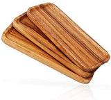 Acacia Wood Serving Platters Trays Set of 3, Highly Durable Dishwasher Safe Rectangular Party Plates