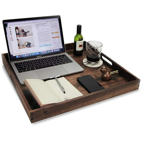 Square Black Walnut Wood Ottoman Tray with Handles, Serve Tea, Coffee Classic Wooden Decorative Serving Trays