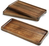Wood Serving Platters Tray Set of 3, 11.8 Inch Natural Acacia Wood Tray, Wooden Cheese Plate, For Serving, Handcrafted Wooden Dish Set, Rectangle