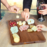 Walnut wood cutting board large thick with Handles juice groove cheese boards
