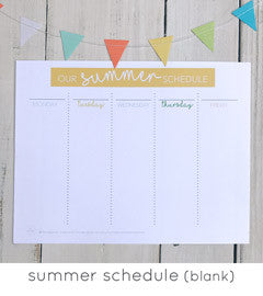 Summer Schedule for Kids with Blank Themes