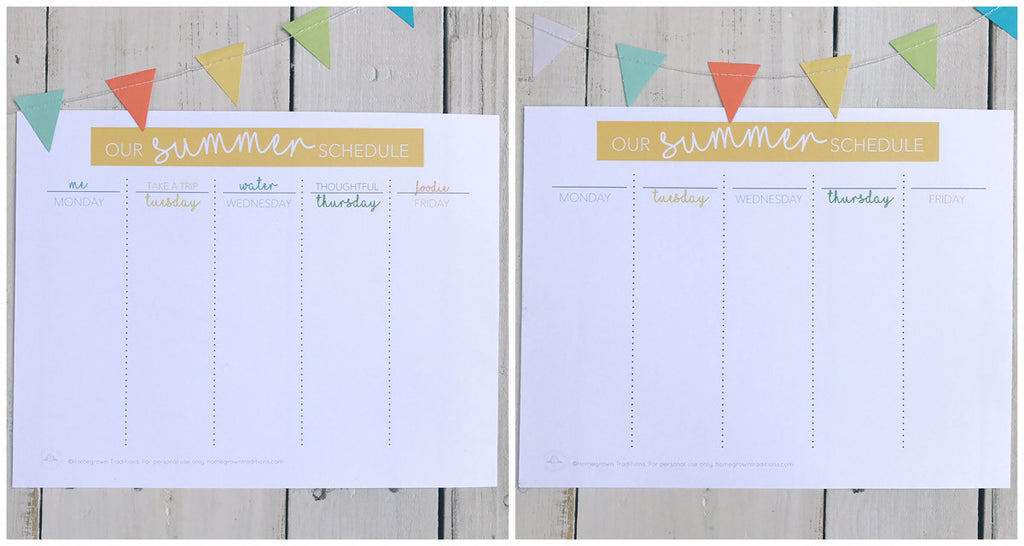 Summer Schedule Free Printable