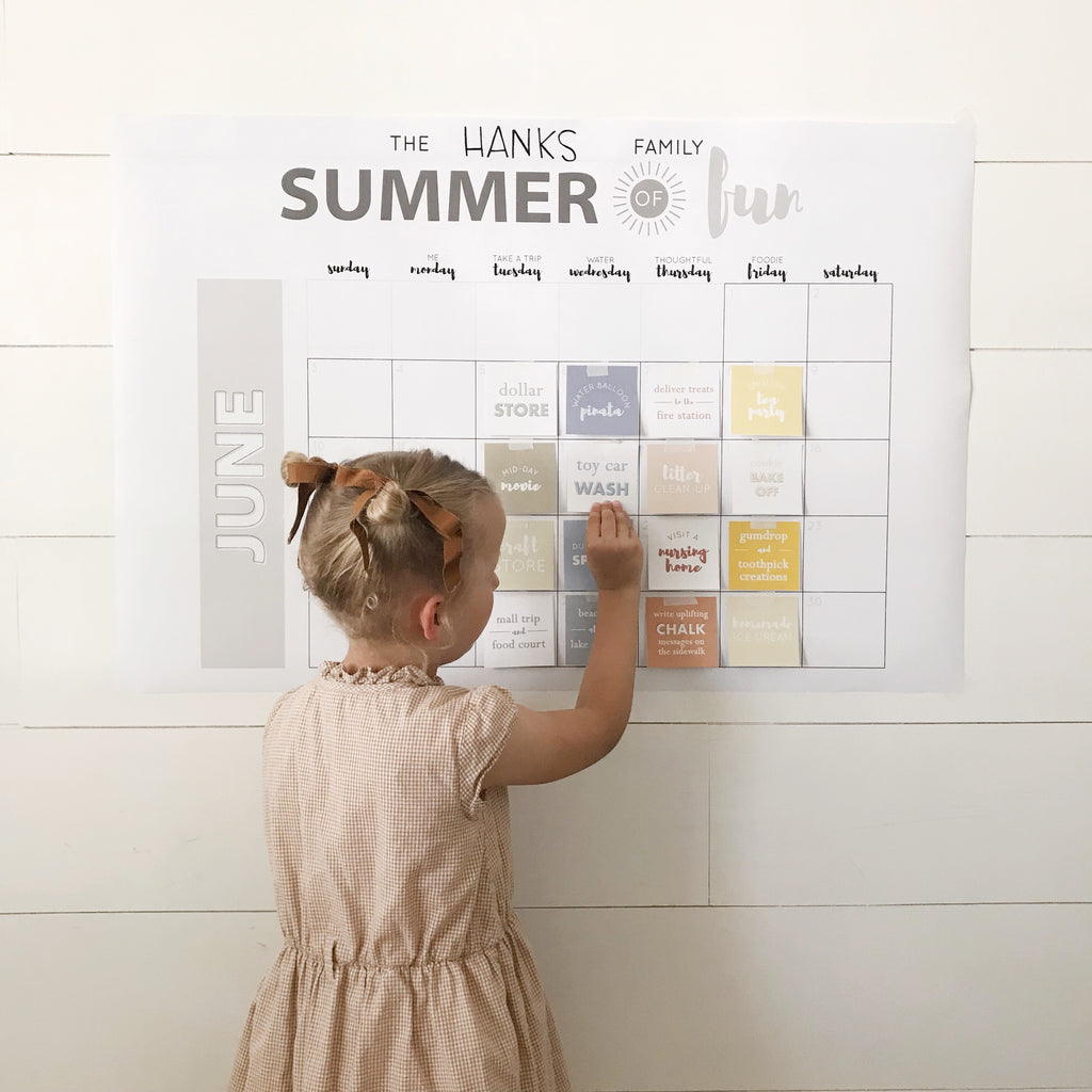 Summer schedule activity idea calendar for kids.  Summer of fun!