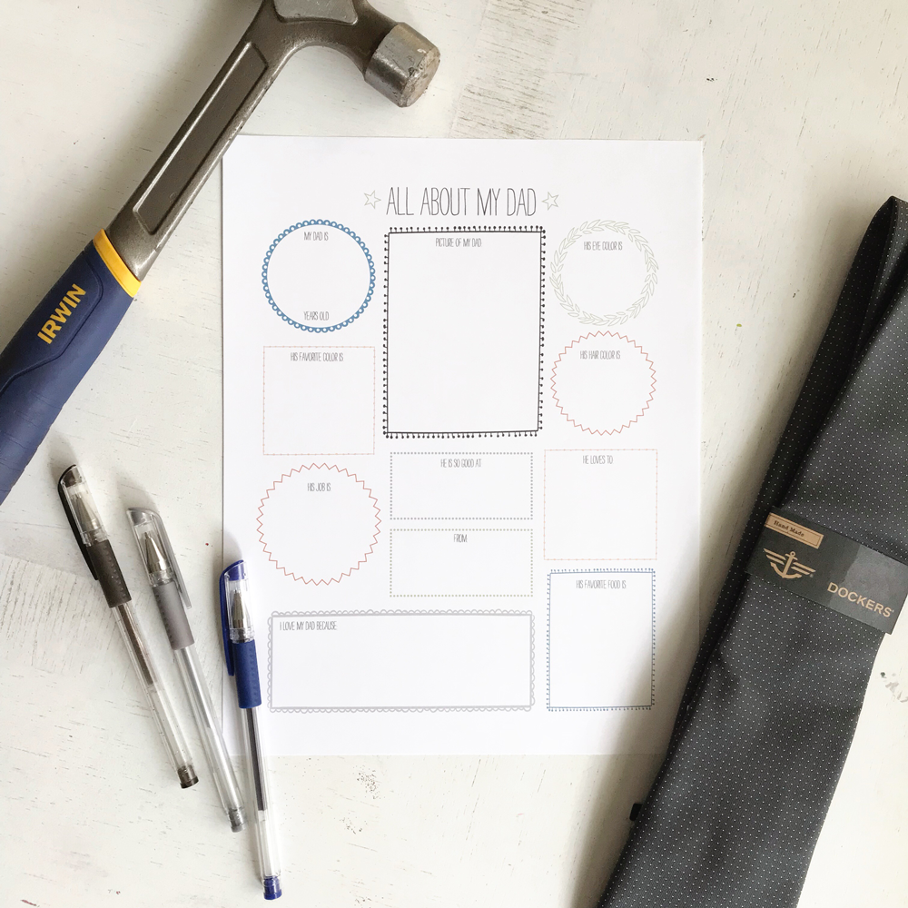 All About Dad Father's Day Questionnaire Free Printable Download