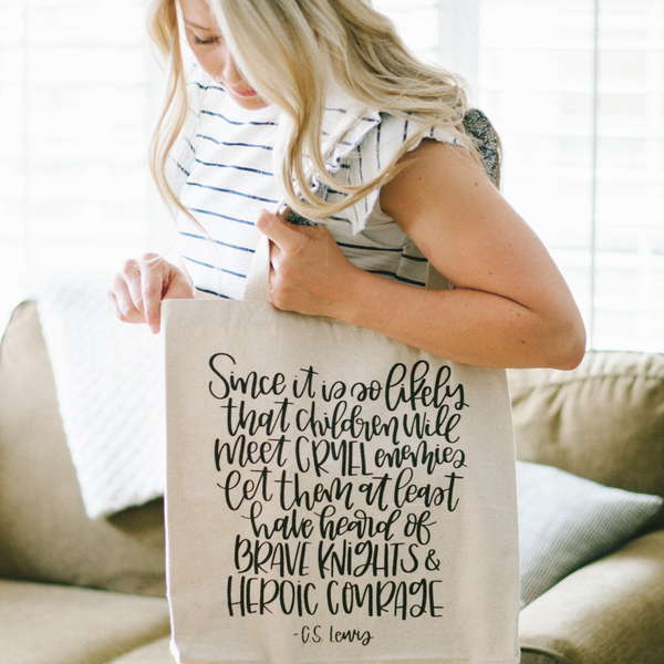 Hand Lettered Canvas Library Book Bag