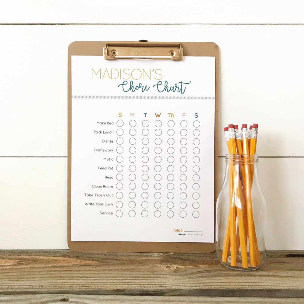 custom chore chart download for teenagers with age appropriate chore suggestions