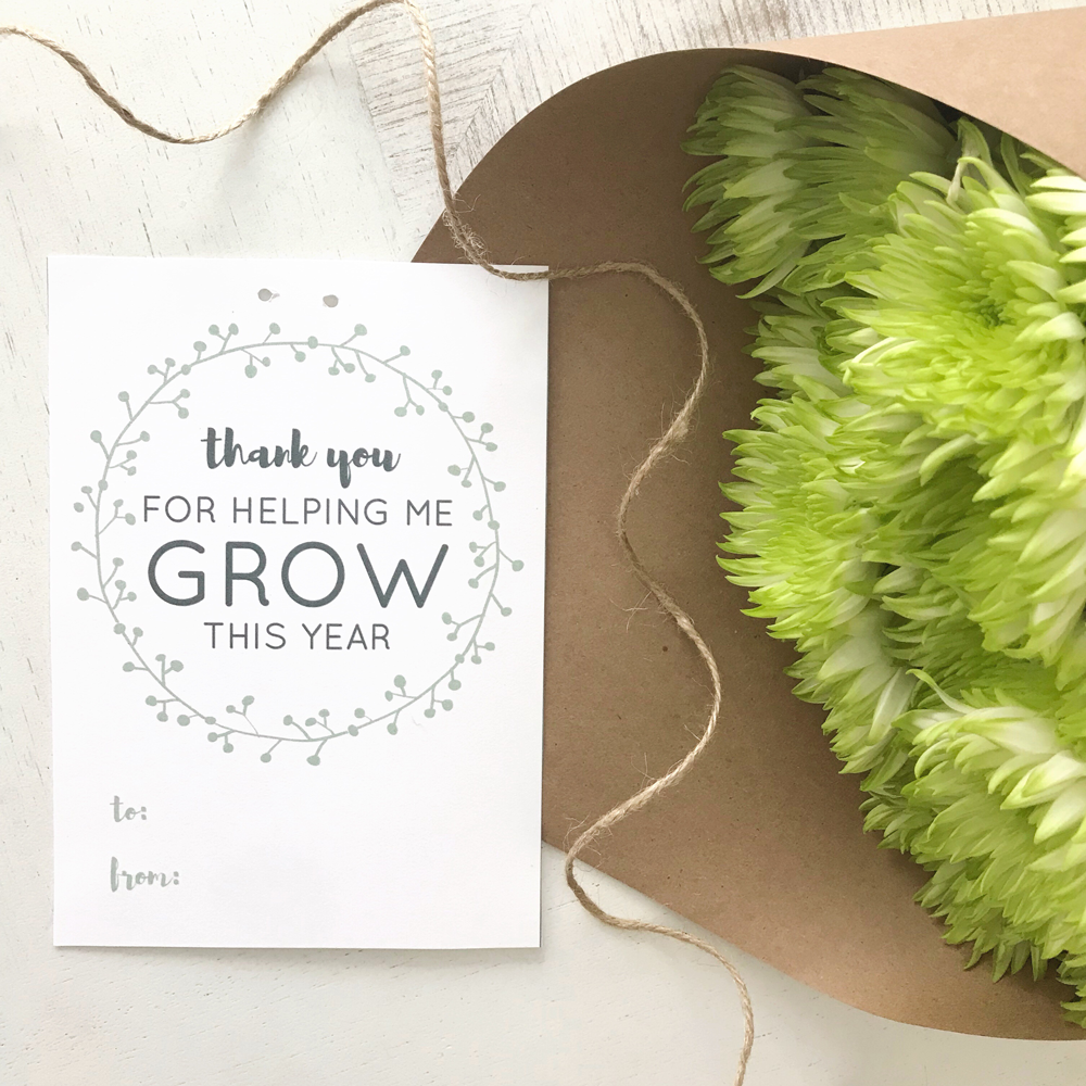 Thank you for helping me grow this year teacher gifts tag free printable download.