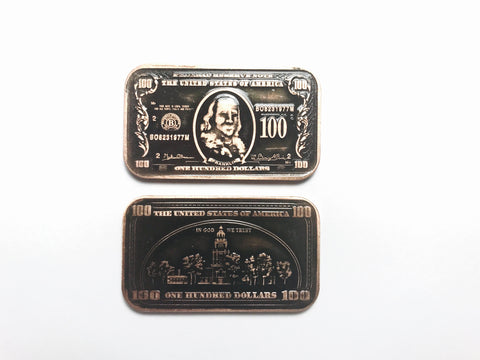 $100 Benjamin Franklin Copper Bar