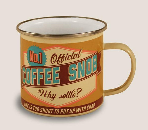 """No.1 Coffee Snob"" Enamel Mug"