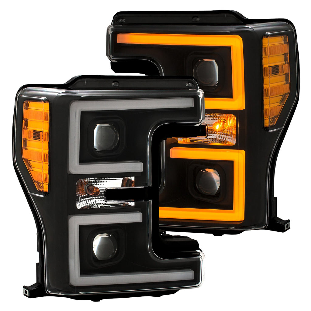 2017-2018 Ford F250/ F350/ F450 Projector Plank Style Switchback Headlight Black / Amber