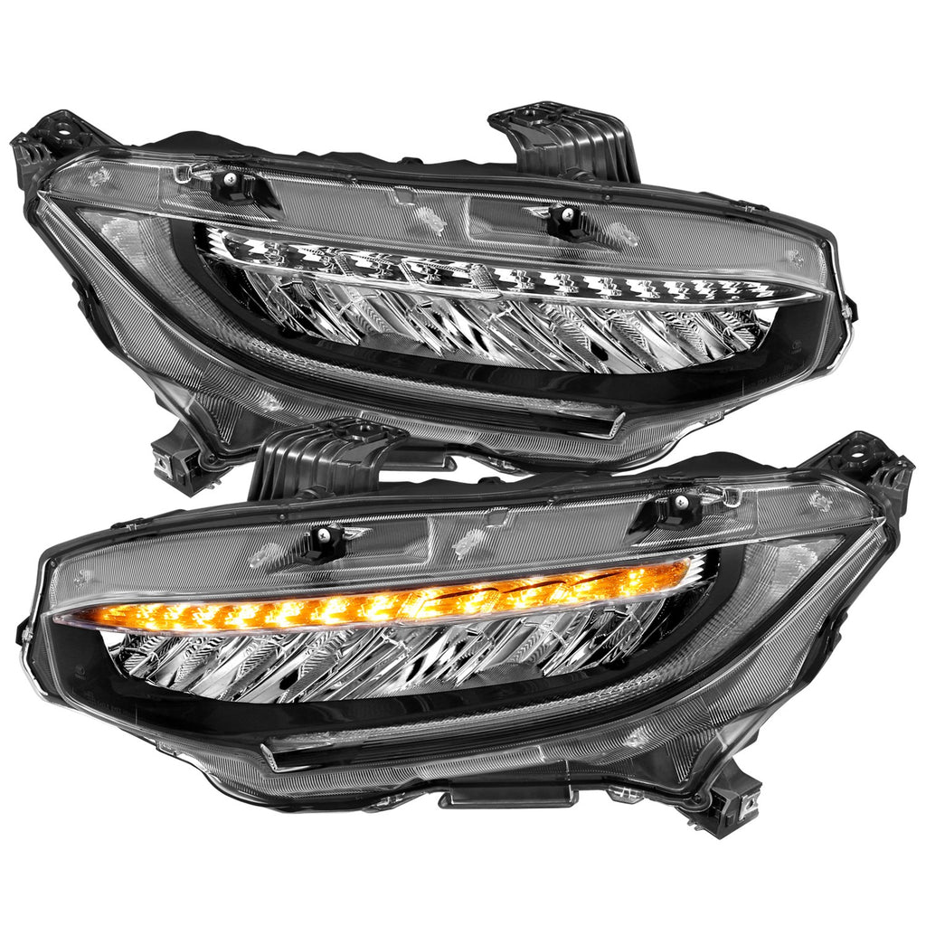 2016-2017 Honda Civic Projector Headlights 4 door w/Amber/Sequential Turn Signal