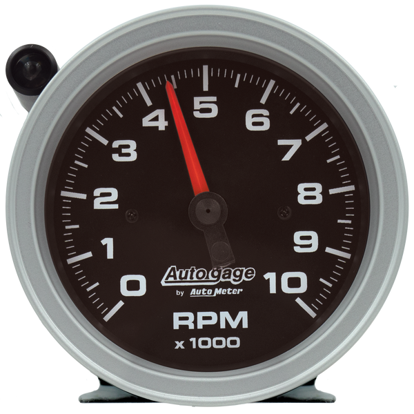 Autometer Tachometer Gauge 10K RPM 3 3/4in Pedestal w/Ext. Shift-Light - Black Dial/Black Case