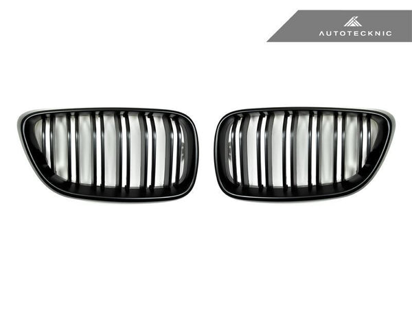 Autotecknic Replacement Dual-Slats Stealth Black Front Grilles BMW F22 2-Series